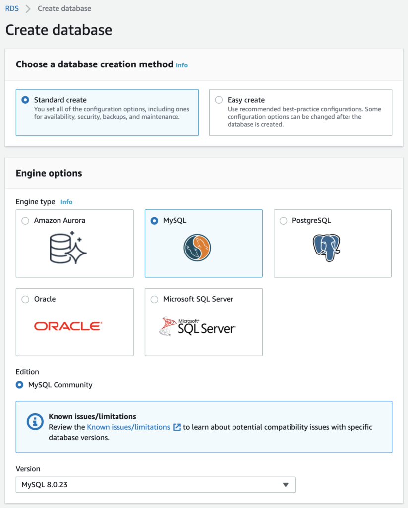 RDS create database - initial options